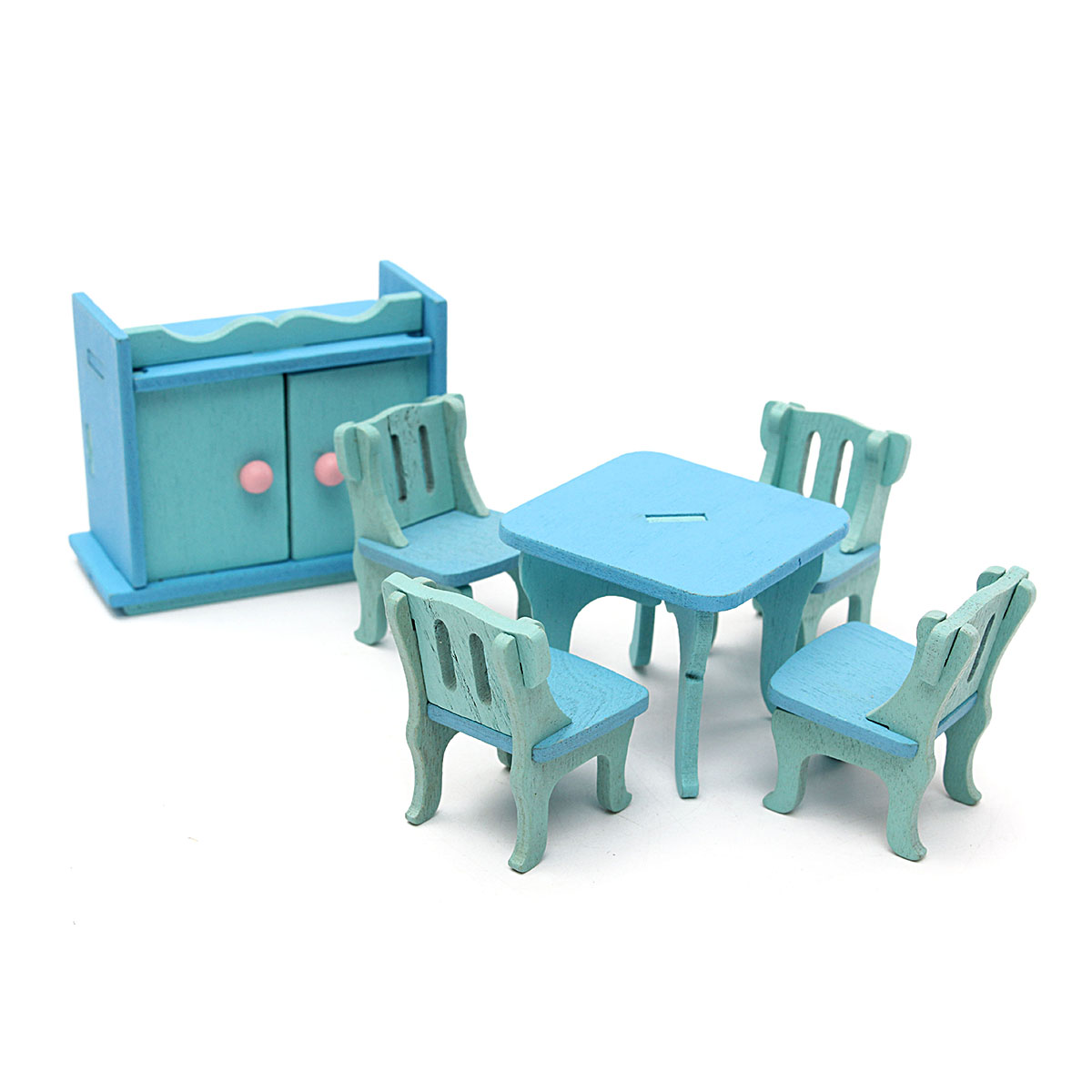 Wooden furniture dolls house family miniature 6 set room child kids gift toys ebay Dolls wooden furniture