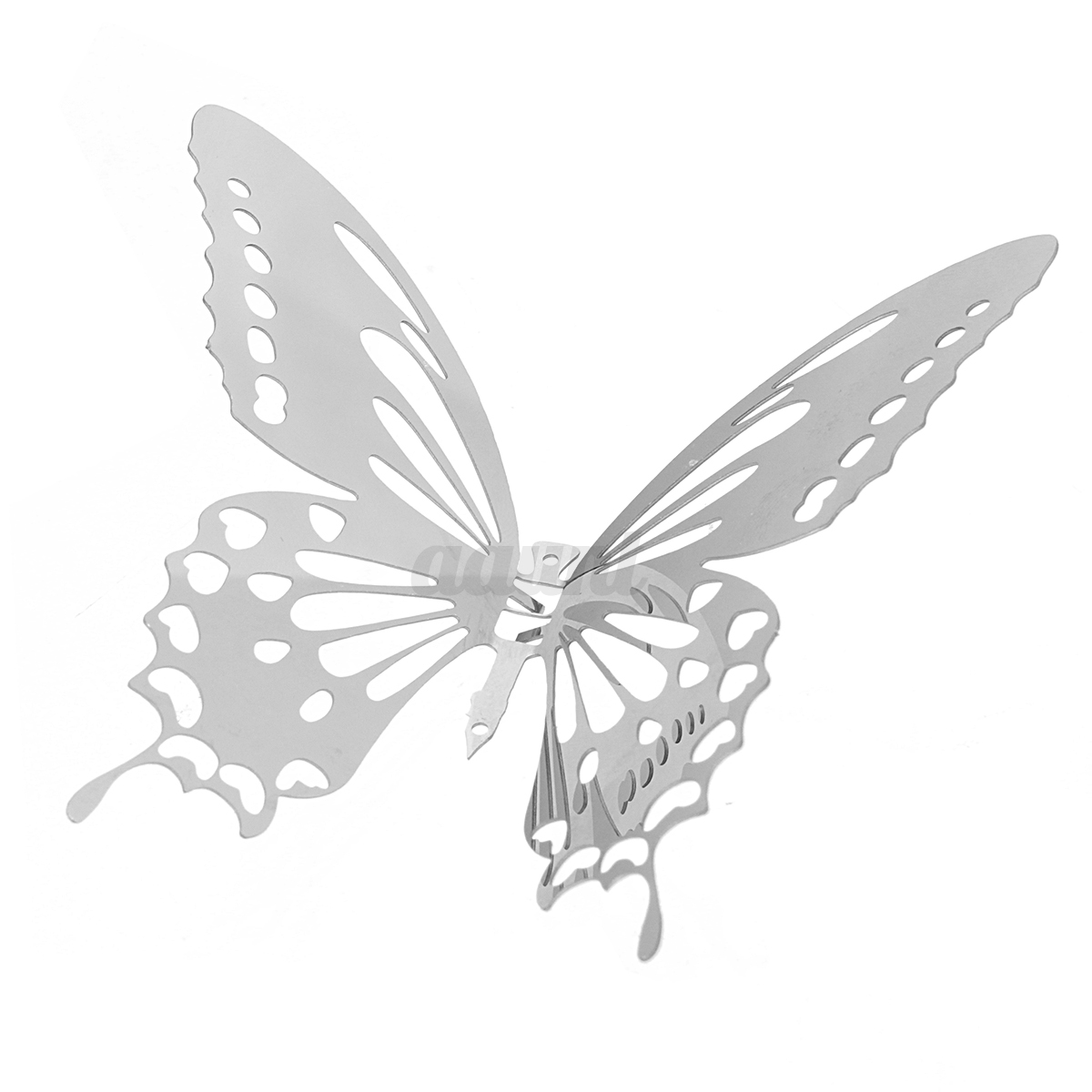 10pcs 3d stainless butterfly wall stickers silver mirror for Butterfly wall mural stickers