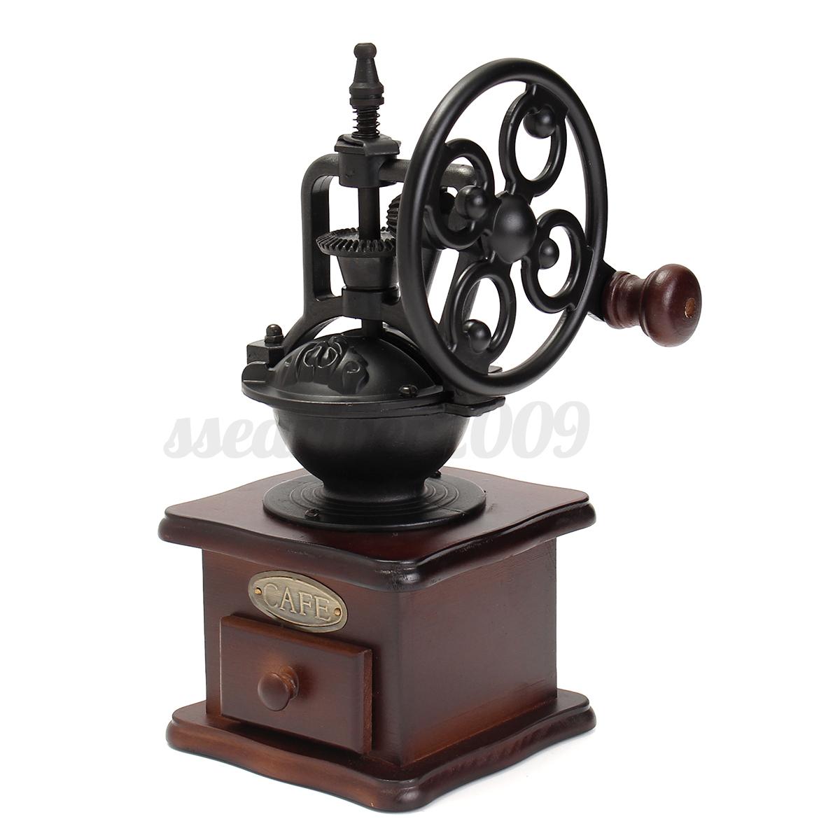 vintage moulin broyeur caf expresso cafeti re machine manuel en bois fer ebay. Black Bedroom Furniture Sets. Home Design Ideas