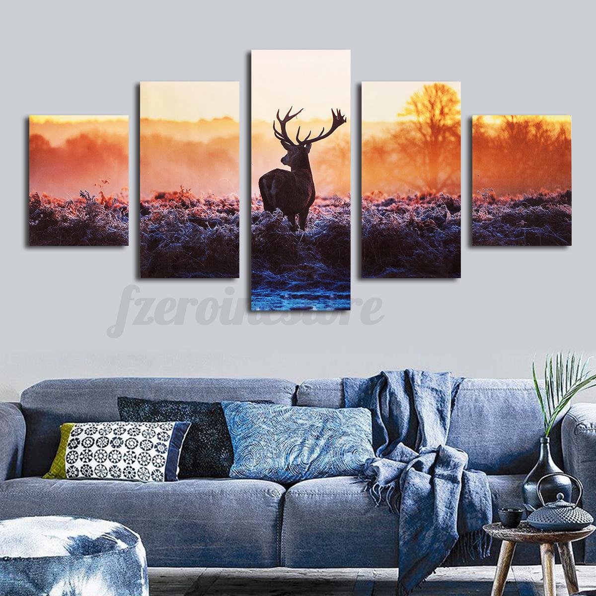 5 tlg leinwand bilder kunstdruck abstrakt wandbild bild tier see wald wand deko. Black Bedroom Furniture Sets. Home Design Ideas