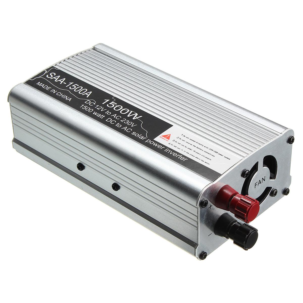 Solar Power Inverter 1500w 3000w Peak 12v Dc To 230v Ac Modified