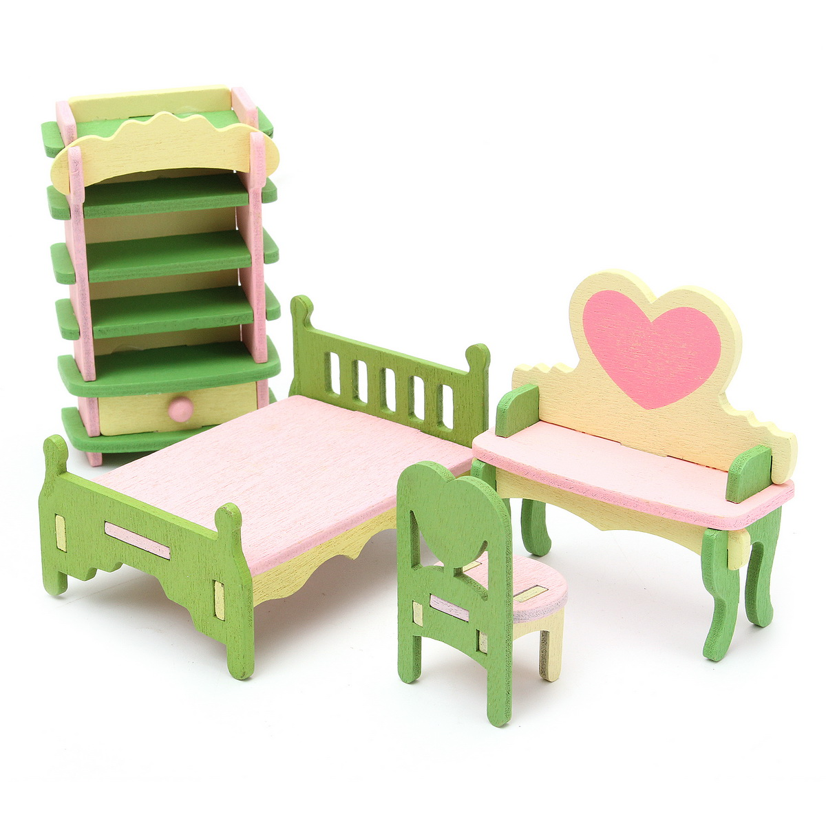Wooden Furniture Dolls House Family Miniature 6 Set Room Child Kids Gift Toys Ebay