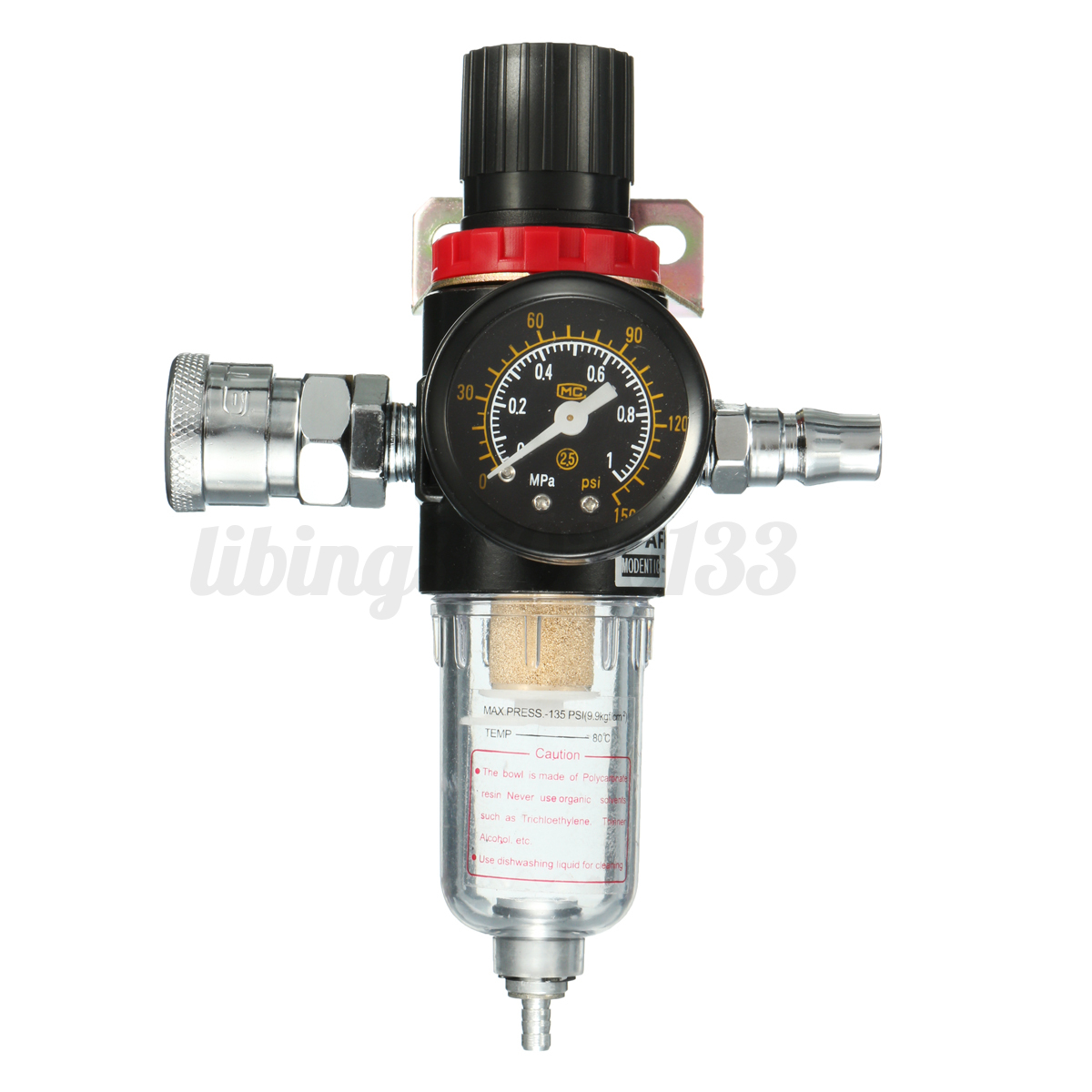 1 4 39 39 air compressor oil water regulator filter pressure gauge moisture trap us ebay. Black Bedroom Furniture Sets. Home Design Ideas