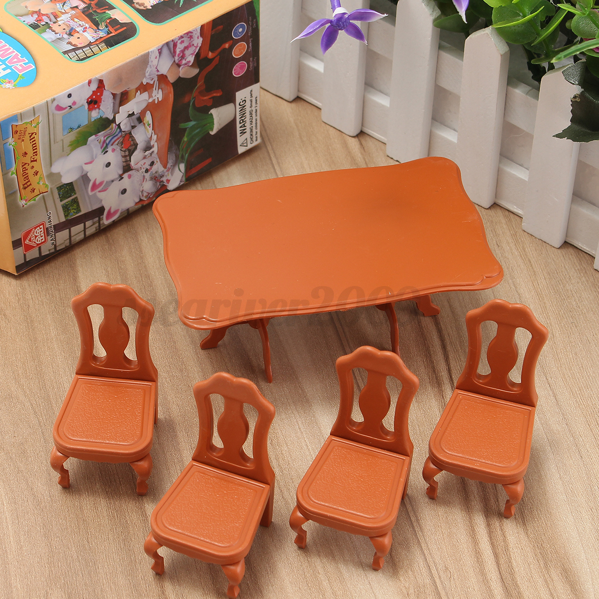 1 12 model doll house miniature furniture dining room table 4 chairs set toys ebay. Black Bedroom Furniture Sets. Home Design Ideas