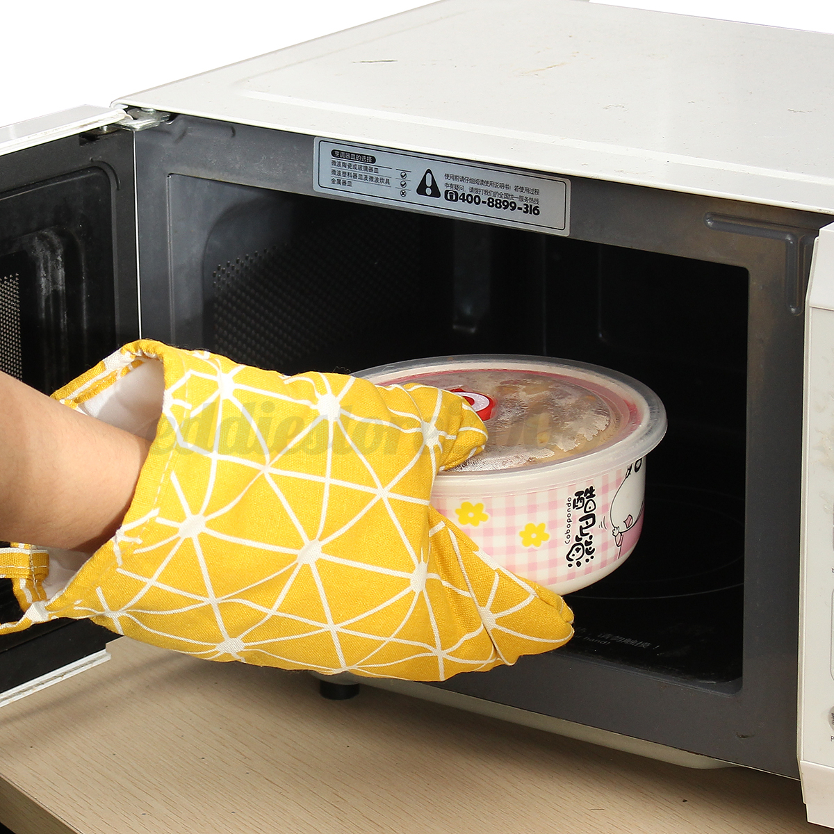 Kitchen Oven Mitts ~ Pair padded oven gloves kitchen baking cook mitt thick