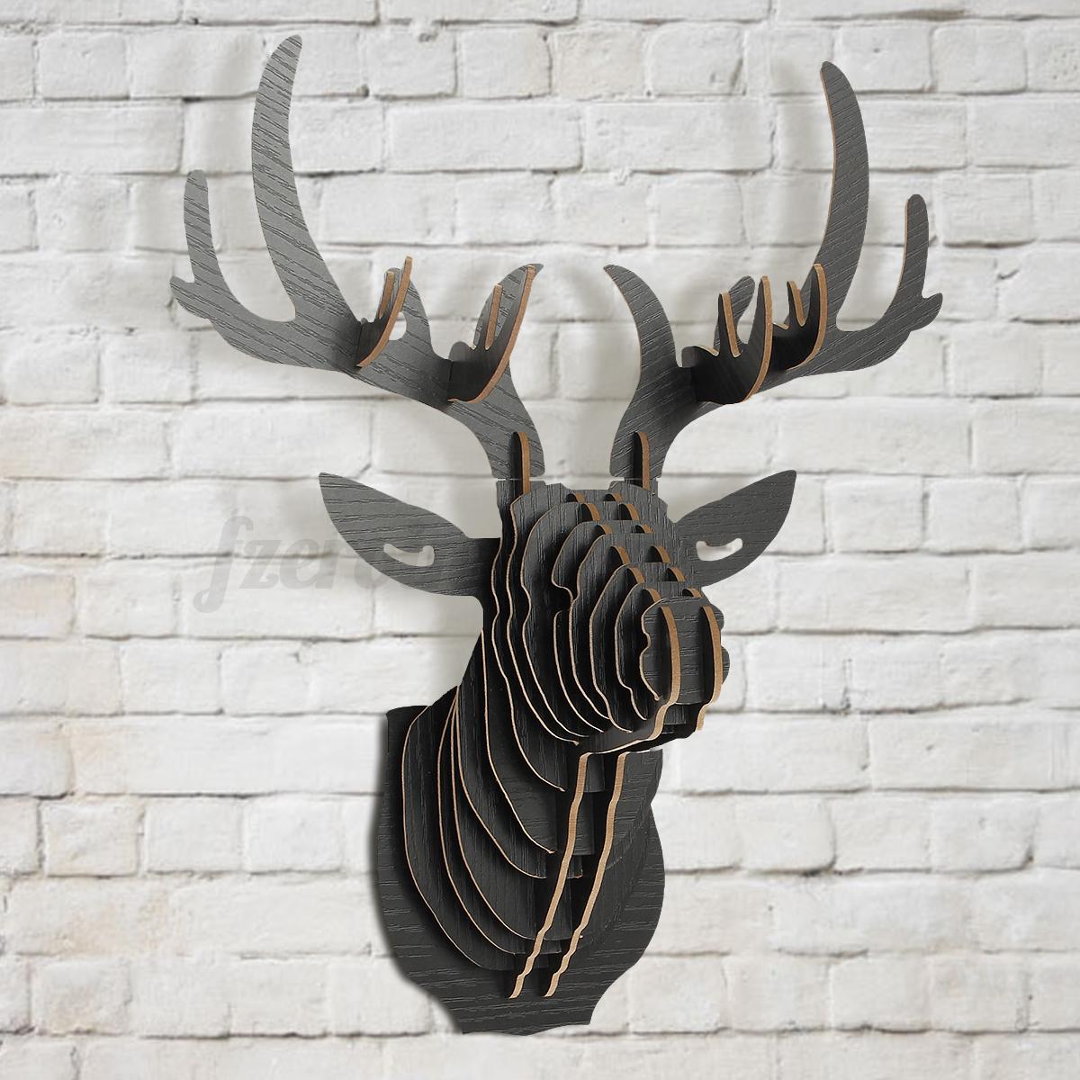 diy holz hirschkopf hirschgeweih hirsch elch kopf skulptur wanddeko deko geweih ebay. Black Bedroom Furniture Sets. Home Design Ideas