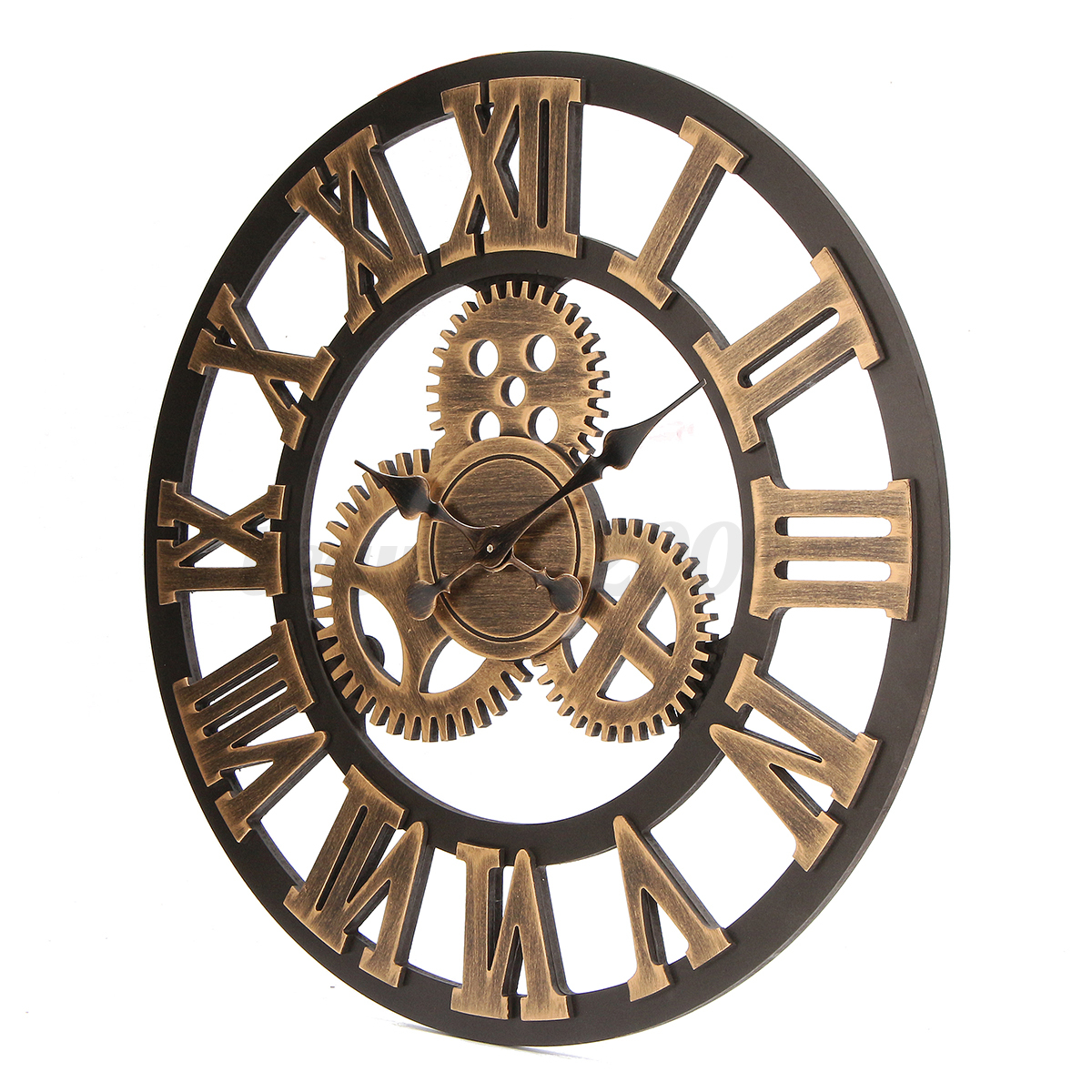 60cm oversized retro vintage large gear rustic wooden luxury wall clock decor ebay