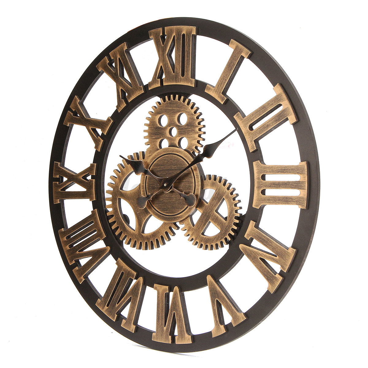 60cm 3d retro industrial large gear wall clock rustic wooden luxury vintage ebay