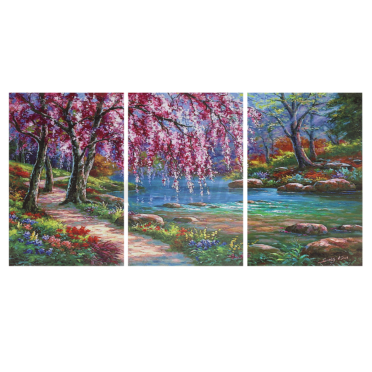 Modern Forest House: Forest Modern Unframed Canvas Painting Decorative Wall