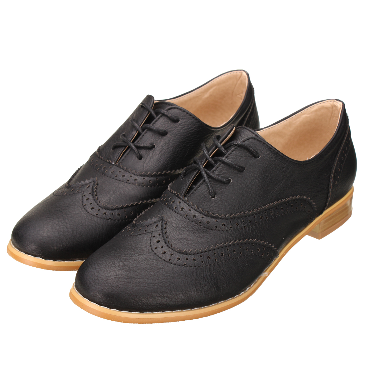 Retro Women Lace Up Wing Tip Oxford College Style Flat Fashion Shoes Ebay
