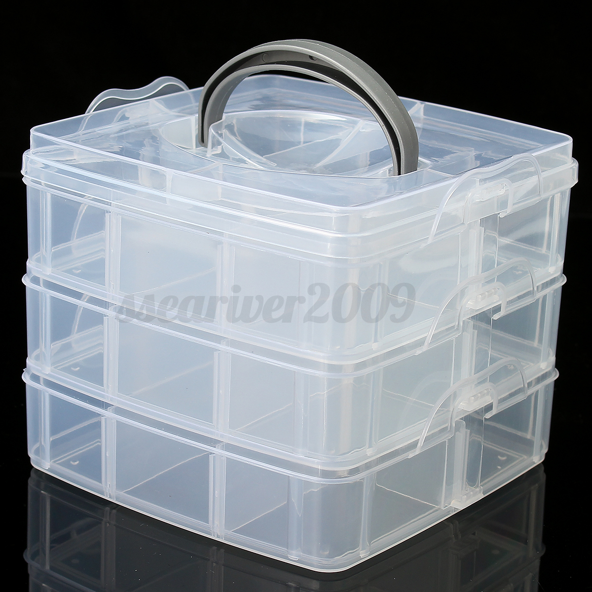 Compartment box clear plastic storage organiser tool case for Craft storage boxes plastic