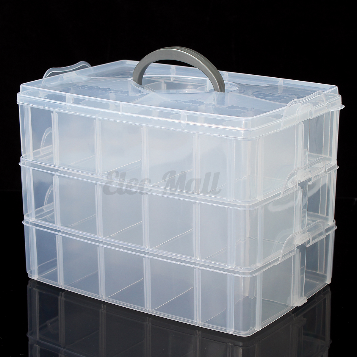 Plastic storage organiser case clear jewellery craft bead for Craft storage boxes with compartments
