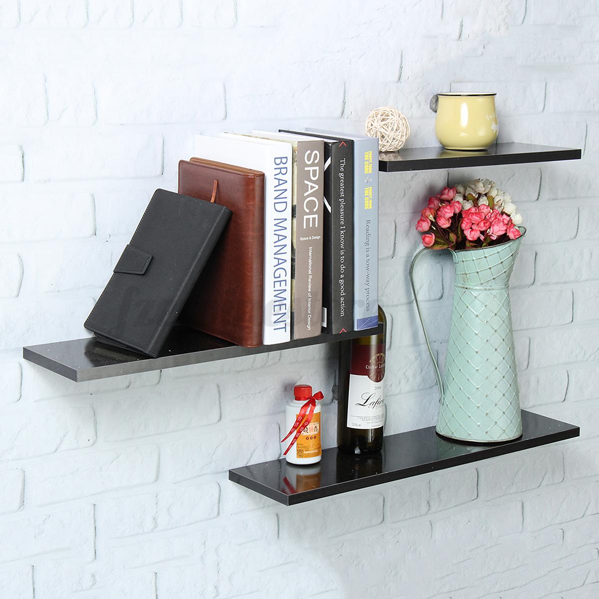 3x floating wall shelf mounted high gloss display shelves bookshelf storage kit ebay. Black Bedroom Furniture Sets. Home Design Ideas