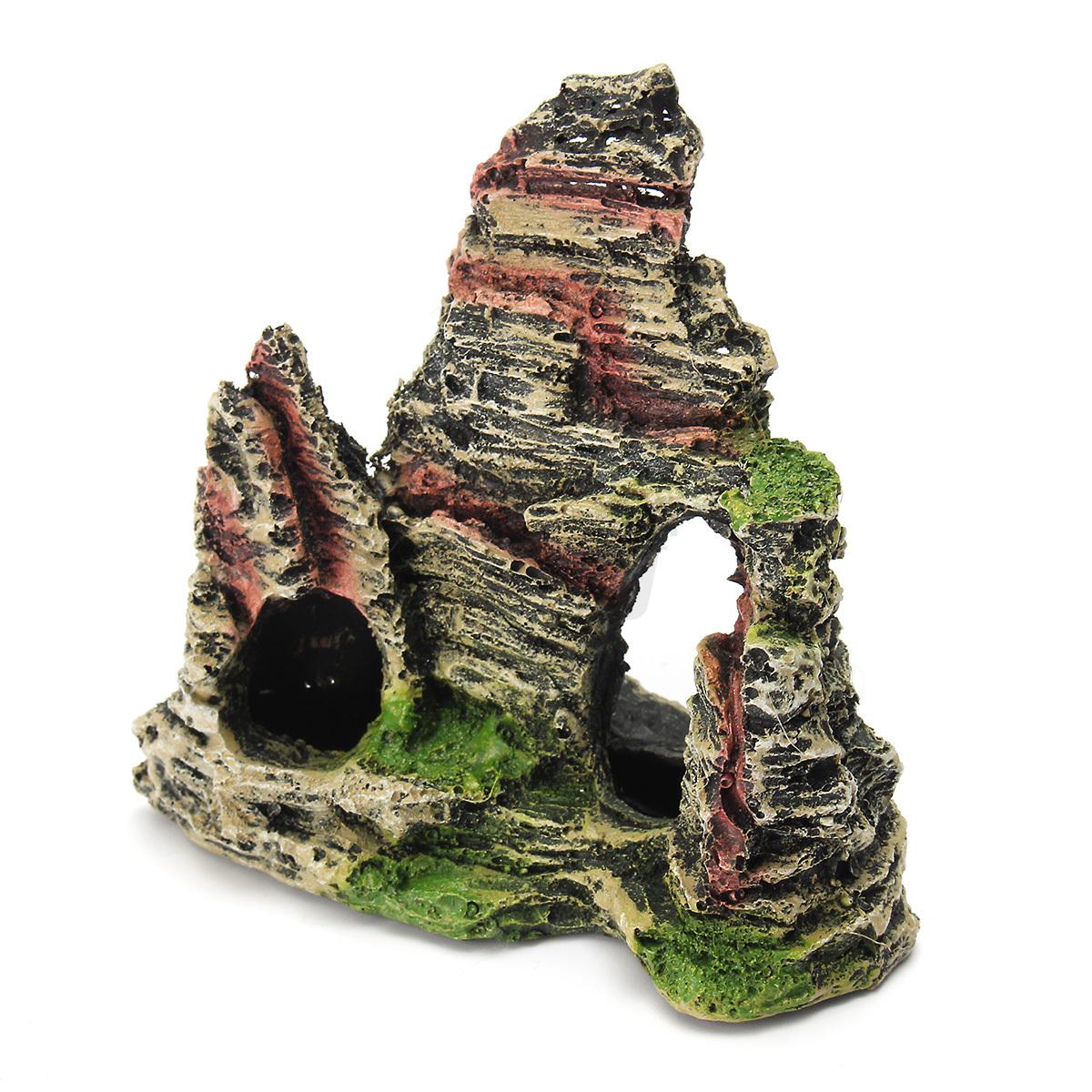 Resin mountain view aquarium ornament cave rock stone fish for Aquarium mountain decoration