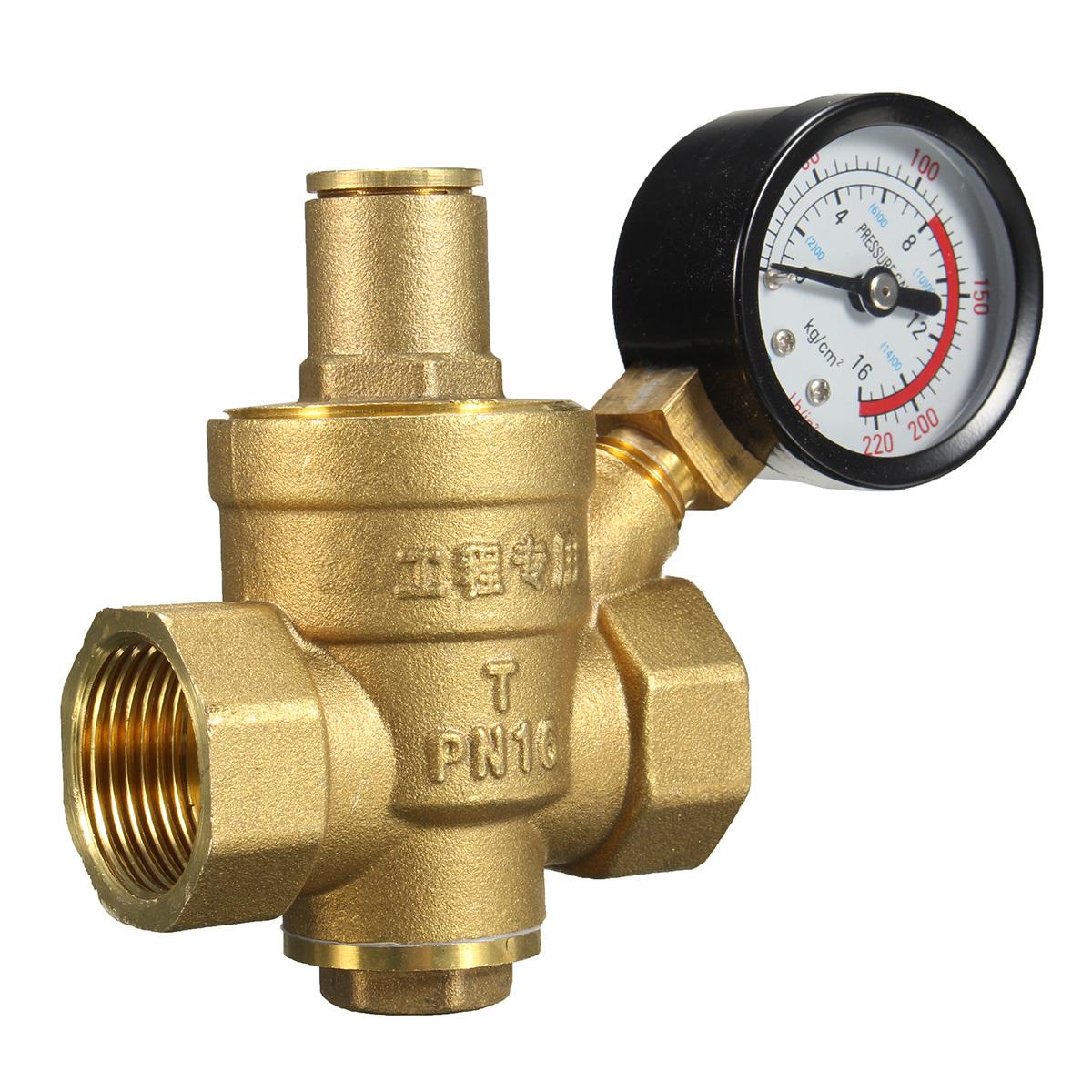 dn20 npt 3 4 39 39 adjustable water pressure regulator reducer with gauge meter new ebay. Black Bedroom Furniture Sets. Home Design Ideas