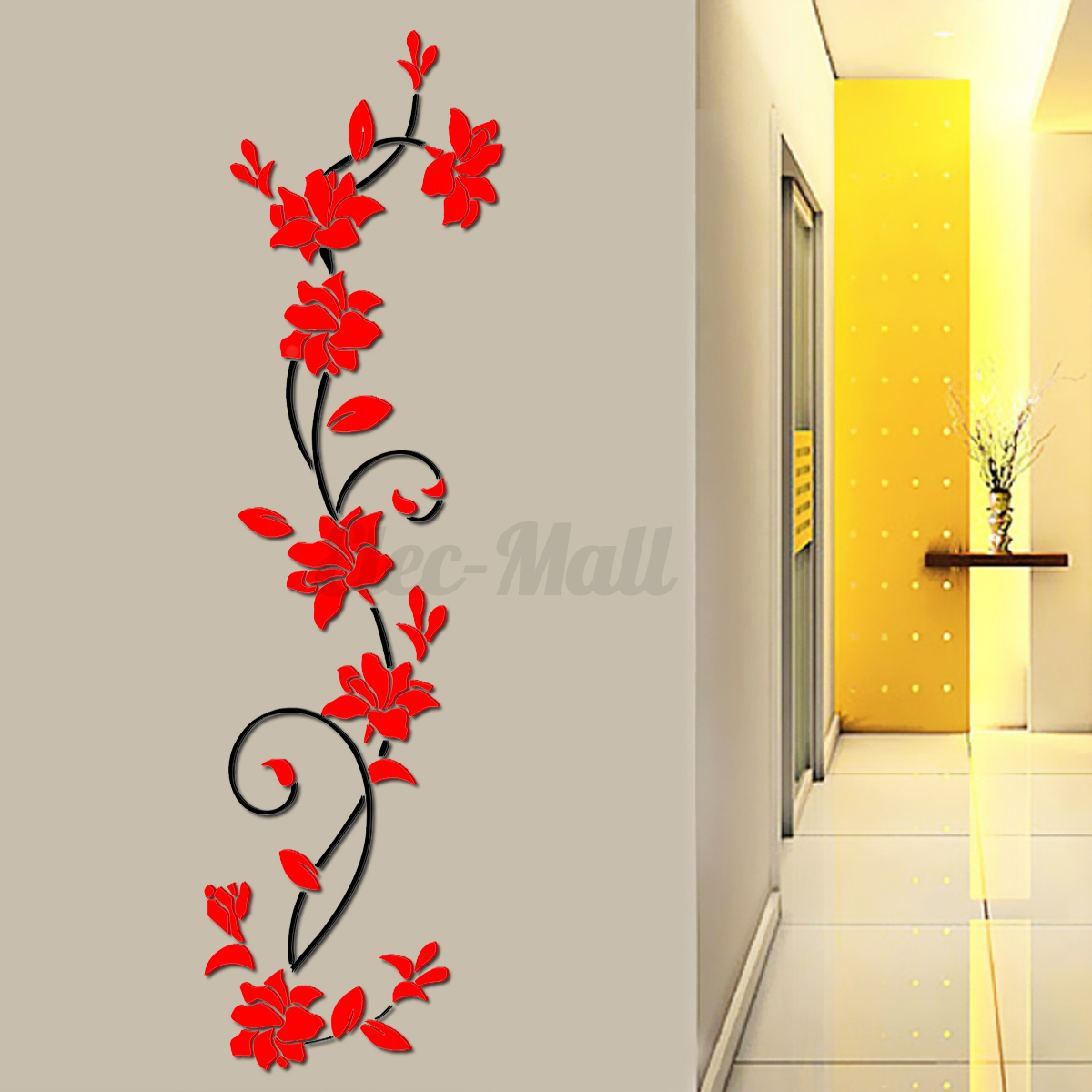Large 3d flower removable diy acrylic wall sticker decal for Large 3d wall art
