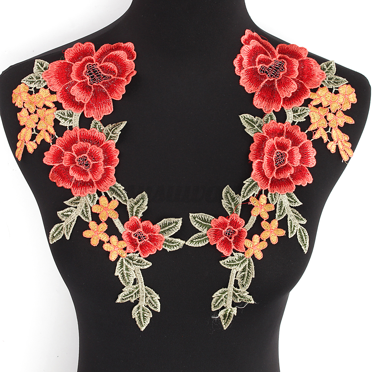 Embroidered flower applique motif collar neck trim patches
