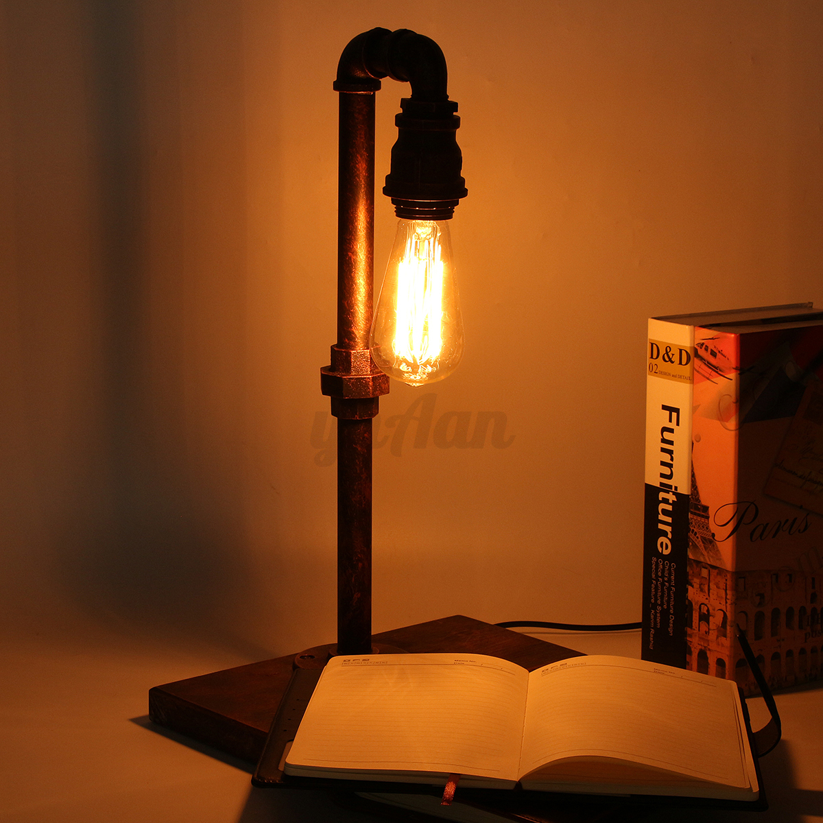 Retro Vintage Industrial Iron Pipe Desk Table Lamp Light